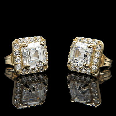 2Ct Halo Asscher Round Created Diamond Earrings 14K Yellow Gold Square Studs