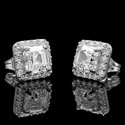 2Ct Halo Asscher Round Created Diamond Earrings 14K White Gold Square Studs