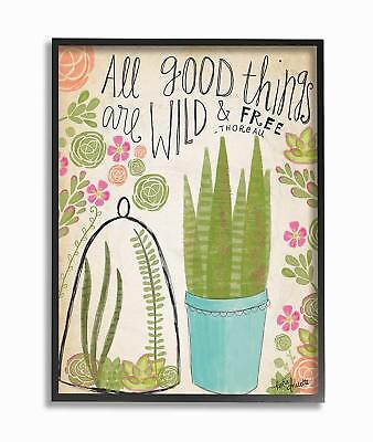 Stupell Industries Good things are Wild and free Houseplants Framed Giclee testu