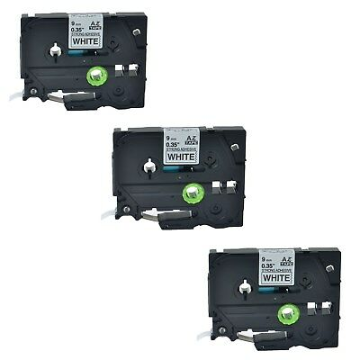 3PK TZe S221 TZ S221 Black On White Label Tape For Brother P-Touch PT-P700 9mm