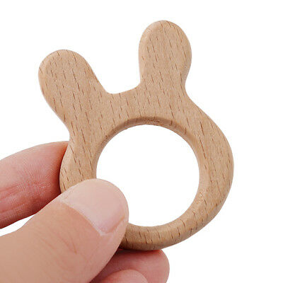 Baby Handmade Natural Beech Wood Teether Teething Ring Toys DIY Wooden Craft B