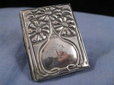 Sterling Silver Sunflower Antique Art Nouveau Pocket Needle Sewing Pin Case