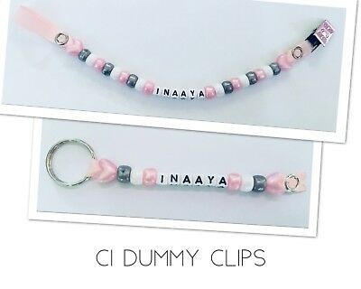Dummy Clip + Keyring Bag Tag 💕 Girls Pink Personalised Any Name Metal Clip