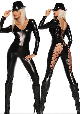 """metal Our World""gothic Steam Punk Black Bodysuit Catsuit Pvc Wet Look One Size"