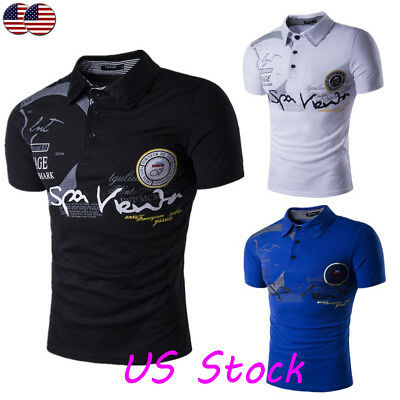 US Mens Slim Fit Polo Neck Short Sleeve Muscle Tee Shirts T-shirt Tops Blouse ZS