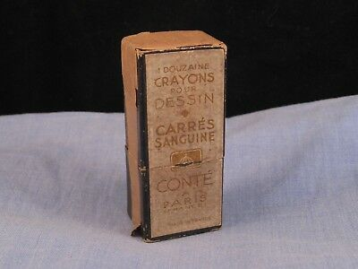 Conte French Vintage Artist Crayon Pencil Square Carres Sanguine Terracota Red
