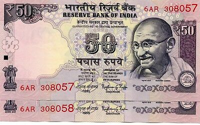 INDIA 50 Rupees 2016 P NEW Letter E x 2 Consecutive UNC Banknotes