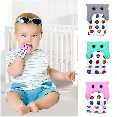 Kids Baby Silicone Teething Mitten Teething Glove Wrapper Sound Teether Pacifier