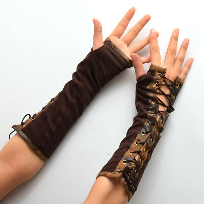 Lolita Steampunk Vintage Women's Armband Gloves Victorian Tie-Up Mittens Cosplay