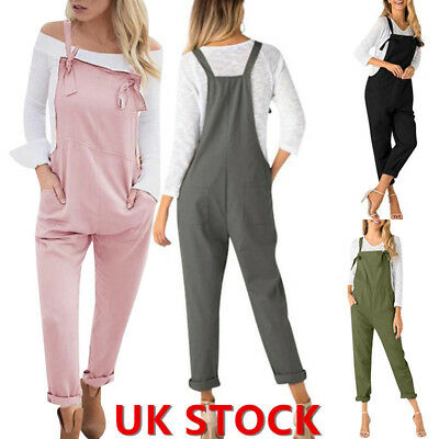 UK Women Loose Strap Jumpsuit Casual Dungaree Harem Trousers Girl Overall Pants