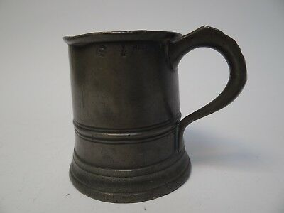 Half Pint Pewter Tankard Stamped GR and VR