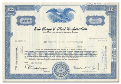 Erie Forge & Steel Corporation Stock Certificate