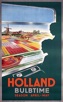 Vintage Dutch Tourist Board Holland at Bulb Time Poster  A3 Print