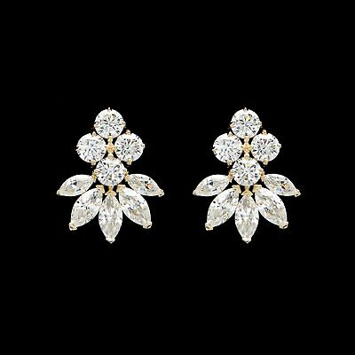 2 Ct. Marquise Round Created Diamond Cluster Stud Earrings 14K Yellow Gold Large