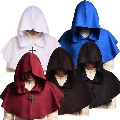 Medieval Hooded Hood Halloween Fancy Dress Hat Wicca Pagan Cowl With Necklace