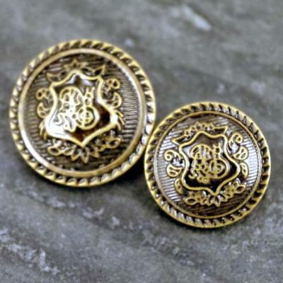 5 x Military Coat of Arms Shield Sewing buttons Antique Gold 20/25mm MB18