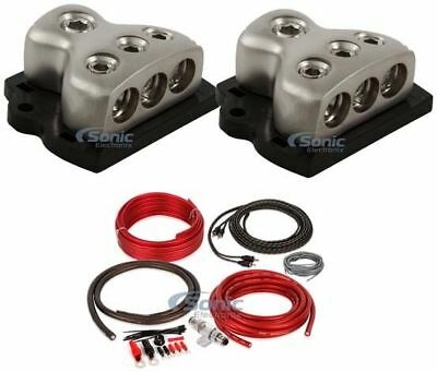 2) ROCKFORD FOSGATE RFD4 0/1/4-Gauge Car Distribution Blocks 1-In 3-Out+Amp Kit