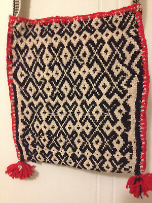 Old woven wool Huichol bag from Mexico