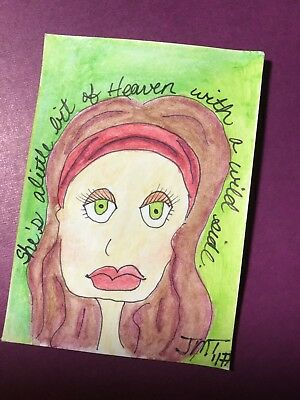 "ACEO Original Painting ""Maggie"" Ooak 2.5""x3.5"" Women Inspire Women Watercolor"