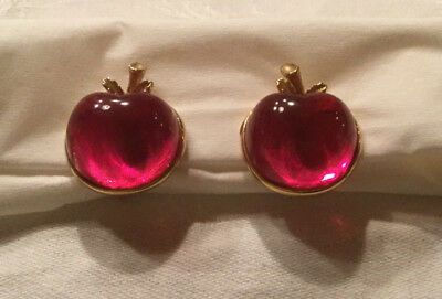 jelly belly rockabilly apfel ohrclips pink lucite SARAH COVENTRY 60er