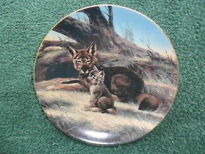 """Vintage Collectors Plate by W.S.George( """"The Red Wolf"""" )Painter Will Nelson 1989"""
