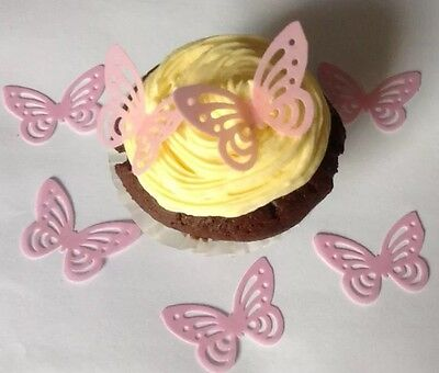 x 40 BABY PINK Edible Rice Paper/wafer BUTTERFLY Toppers For Cakes/cupcakes