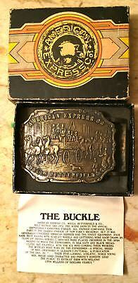 Vintage Brass American Express Co. / Wells Butterfield & Co Belt Buckle in Box