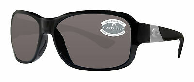 79dfdd78bb Costa Del Mar Inlet Shiny Black Frame Gray 580P Plastic Polarized Lens