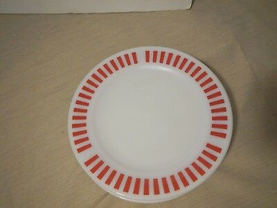 set of 6 rare Vintage Hazel Atlas red candy stripe plates 9""