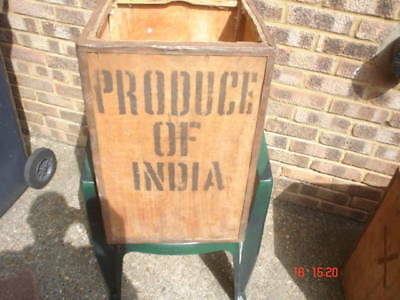 Very Old Indian Tea Trunk - Tea Chest Box Storage Bedside Table Cabinet Box