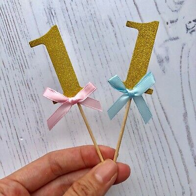 10 x 1st First Birthday Cupcake Cake Topper Party Decorations Gold Blue Pink