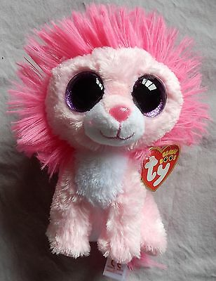 "Fluffy the Lion - 6"" TY Valentine Beanie Boo - Glitter Eyes"