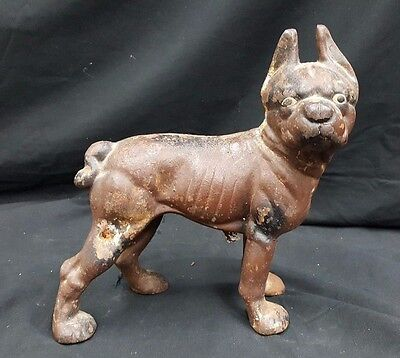 Antique Cast Iron Boston Terrier Statue Door Stop - ANTIQUE HUBLEY CAST Iron French Bulldog Boston Terrier Doorstop Door