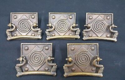 Architectural Salvage Art Deco Brass Geometric Drawer Pull Handles Set of 5