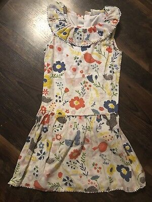 Mini Boden Girls Floral Bunny Bird floral Dress Size 7/8