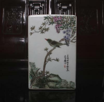 Old Rare Famille Rose Chinese Porcelain Flower&bird Brush Pot Liu Yucen MK