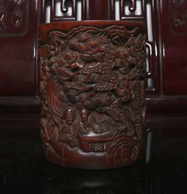 Old Chinese Carved Bamboo Brush Pot Figures