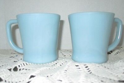 2 Vintage Delphite Blue Azurite Fire King Coffee Mugs Cups D Handles