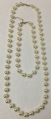 Lot of 2 Faux Pearl Necklaces Large Bead Costume Fashion Jewelry Good Condition