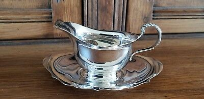 Vintage silver plate sauce boat and drip tray Adie Bros Birmingham V good cond