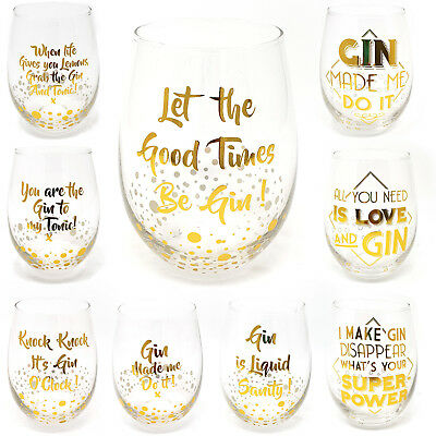 Stemless Gold Gin & Tonic Glasses G&T Lovers Novelty Cocktail Glass Gift Boxed