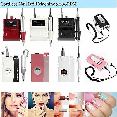 30000RPM LCD Portable Cordless Rechargeable Electric Nail Drill Bits Manicure
