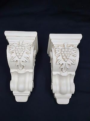 Reproduction Berries & Scroll Leaves Decorative Wooden Corbels Set of Two