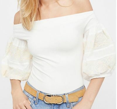 cf449eca95073 Free People Rock With It Top Embroidered Off The Shoulder Shirt Ivory Size  S  88