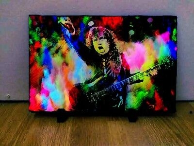 Angus Young AC/DC Art on Rock Slate 12x8 inch Rare Collectables Memorabilia