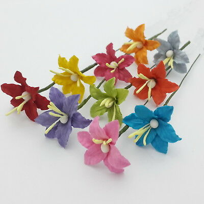 50 Paper Flower Lilies Scrapbook Cardmaking Doll Home Art Craft Supply LY3-601