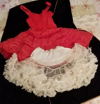 Girls Red Petticoat Slip Dress & White Half Circular Petticoat Small Size