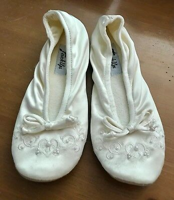 Touch Up satin Bridal Slippers, beads/embroidered, Large(Size 8), Ivory, GUC