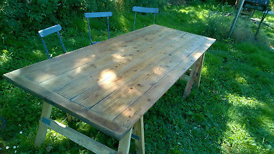 Vintage large Trestle table top and legs