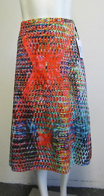 79052206bc M MISSONI cotton multicolor abstract print ruched flare midi skirt sz 46/10